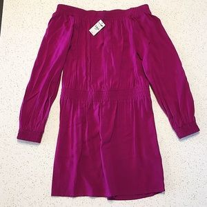 NWT Express Magenta Fuchsia Smocked Mini Dress